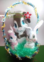 Mama & Baby Bunnies In The Hoop Machine Embroidery Design...No Manual Sewing!  - Digital Download