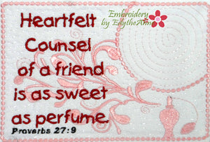 FRIEND In The Hoop Mug Mat design from Proverbs.  - Digital File - Instant Download - Embroidery by EdytheAnne - 1