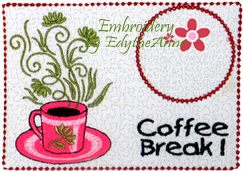 COFFEE BREAK Machine Embroidered Mug Mat/Mug Rug - 2  Sizes included- INSTANT DOWNLOAD - Embroidery by EdytheAnne - 1