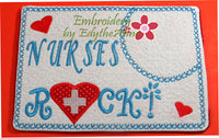 NURSES ROCK! In The Hoop Embroidered Mug Mat/Mug Rug.  - Digital File