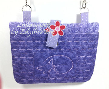 FOXY LADY Ereader/Tablet Carrier Bag w/ Fox Design. Completely ITH No Manual Sewing!   - Digital File - Instant Download - Embroidery by EdytheAnne - 1