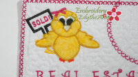 REAL ESTATE CHICK! In The Hoop Embroidered Mug Mat/Mug Rug with applique chick.   - Digital File - Instant Download - Embroidery by EdytheAnne - 2
