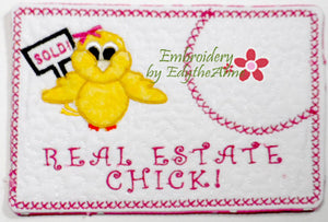 REAL ESTATE CHICK! In The Hoop Embroidered Mug Mat/Mug Rug with applique chick.   - Digital File - Instant Download - Embroidery by EdytheAnne - 1