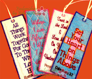 Faith based Set of 4 In The Hoop BOOKMARK designs.  - Digital File - Instant Download - Embroidery by EdytheAnne - 1