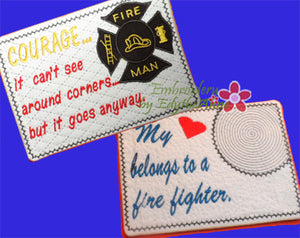 FIREFIGHTERS  In The Hoop Embroidered Mug Mat/Mug Rug.  2 Piece Set .  - Digital File - Instant Download - Embroidery by EdytheAnne - 1