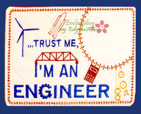 ENGINEER  In The Hoop Embroidered Mug Mat/Mug Rug.  Digital File. Available immediately. - Embroidery by EdytheAnne - 1