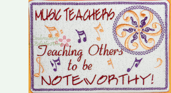 MUSIC TEACHER In The Hoop Embroidered Mug Mat/Mug Rug.   - Digital File - Instant Download - Embroidery by EdytheAnne - 1