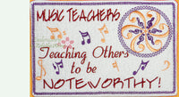 MUSIC TEACHER In The Hoop Embroidered Mug Mat/Mug Rug.   - Digital File - Instant Download