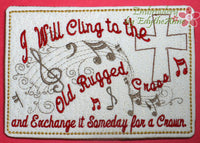 The Old Rugged Cross Musical Embroidered Mug Mat/Mug Rug done In The Hoop.  Digital File. Available immediately.  No shipping charges