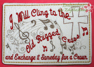 The Old Rugged Cross Musical Embroidered Mug Mat/Mug Rug done In The Hoop.  Digital File. Available immediately.  No shipping charges - Embroidery by EdytheAnne