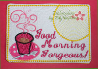 GOOD MORNING Handsome & Gorgeous Set of 2 In The Hoop Embroidered Mug Mat/Mug Rug done In The Hoop.   - Digital File - Instant Download - Embroidery by EdytheAnne - 3
