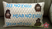 SEE NO EVIL, Hear No Evil, Speak No Evil Project Accent Pillow - Embroidery by EdytheAnne - 3