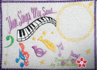 Then Sings My Soul Musical Embroidered Mug Mat done In The Hoop.   - Digital File - Instant Download