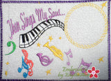 Then Sings My Soul Musical Embroidered Mug Mat done In The Hoop.   - Digital File - Instant Download - Embroidery by EdytheAnne - 1