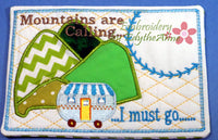 MOUNTAINS ARE CALLING... Set of Two  In The Hoop Whimsical Embroidered Mug Mat/Mug Rug.  Digital File. Available immediately. - Embroidery by EdytheAnne - 3