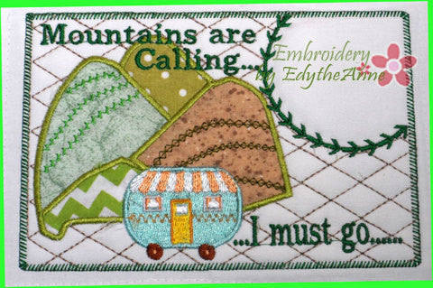 MOUNTAINS ARE CALLING... Set of Two  In The Hoop Whimsical Embroidered Mug Mat/Mug Rug.  Digital File. Available immediately. - Embroidery by EdytheAnne - 1