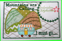 MOUNTAINS ARE CALLING... Set of Two  In The Hoop Whimsical Embroidered Mug Mat/Mug Rug.  Digital File. Available immediately.