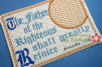 The Father of the Righteous  In The Hoop Embroidered Mug Mat/Mug Rug.  Digital File.  - Digital File - Instant Download