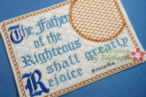 The Father of the Righteous  In The Hoop Embroidered Mug Mat/Mug Rug.  Digital File.  - Digital File - Instant Download - Embroidery by EdytheAnne - 1