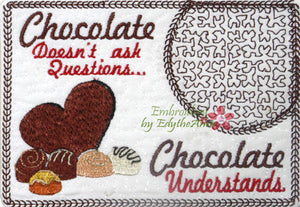 CHOCOLATE In The Hoop Embroidered Mug Mat/Mug Rug done In The Hoop.   - Digital File - Instant Download - Embroidery by EdytheAnne - 1