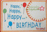 HAPPY BIRTHDAY SET of Two In The Hoop Embroidered Mug Mat/Mug Rug Designs.   - Digital File - Instant Download - Embroidery by EdytheAnne - 2