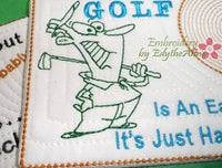 GOLFERS  In The Hoop Embroidered Mug Mat/Mug Rug.  3 Piece Set.  - Digital File - Instant Download - Embroidery by EdytheAnne - 3