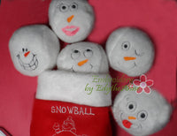 Snowball Stuffies!...Machine Embroidered Twelve  different faces shaped into snowballs. Great Frozen Party treat  & Children's Stock Stuffers! - Embroidery by EdytheAnne - 3