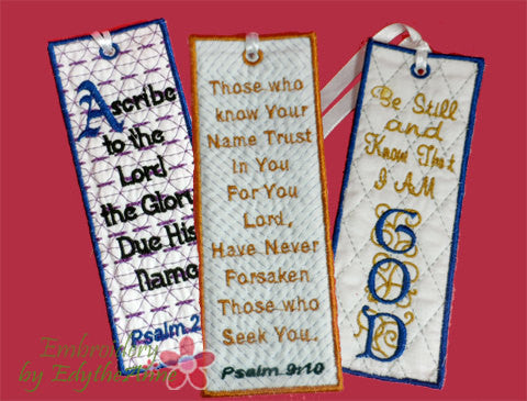 Faith based Set of 3 In The Hoop Bookmark designs for the 5x7 hoop sizes.  - Digital File - Instant Download - Embroidery by EdytheAnne - 1