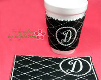 MONOGRAM COFFEE COZY Set of 26  In The Hoop Embroidered Cozy INSTANT DOWNLOAD - Embroidery by EdytheAnne - 4