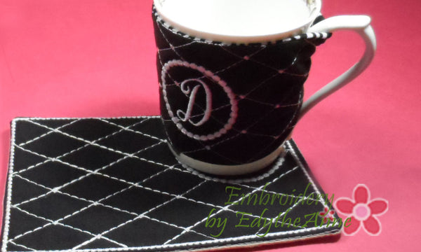 Monogram coffee cozy set of 26 in the hoop embroidered for Cup cozy pillow