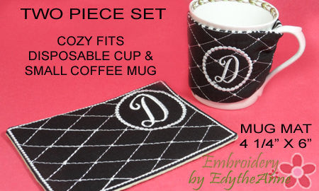 SAVE 15% ON MONOGRAM Coffee Cozy & MONOGRAM Mug Mat Set of 26  INSTANT DOWNLOAD - Embroidery by EdytheAnne - 1