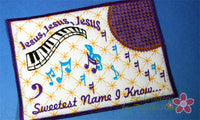 JESUS Sweetest Name I Know Musical Embroidered Mug Mat/Mug Rug done In The Hoop.  - Digital File - Instant Download