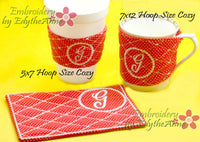 MONOGRAM COFFEE COZY Set of 26  In The Hoop Embroidered Cozy