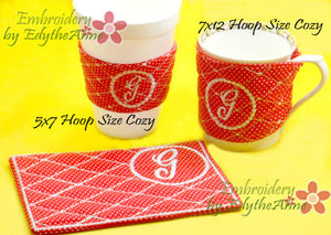 MONOGRAM COFFEE COZY Set of 26  In The Hoop Embroidered Cozy INSTANT DOWNLOAD - Embroidery by EdytheAnne - 2