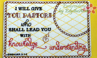 PASTOR APPRECIATION -In The Hoop Machine Embroidered Mug Mat/Mug Rug