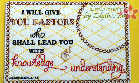 PASTOR APPRECIATION Embroidered Mug Mat/Mug Rug done In The Hoop.  Digital File. Available immediately.  No shipping charges - Embroidery by EdytheAnne - 1