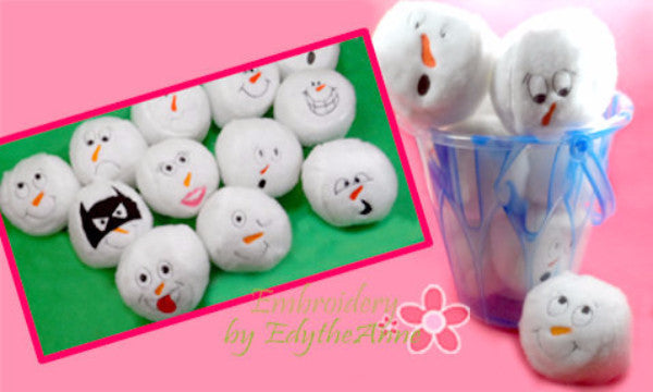 Snowball Stuffies!...Machine Embroidered Twelve  different faces shaped into snowballs. Great Frozen Party treat  & Children's Stock Stuffers! - Embroidery by EdytheAnne - 1