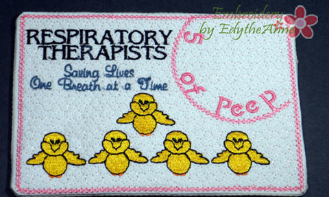 RESPIRATORY THERAPISTS In The Hoop Embroidered Mug Mat/Mug Rug.   - Digital File - Instant Download - Embroidery by EdytheAnne - 1