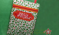 Merry Christmas  and Feliz Navidad Crossbody Bag.2 Sizes. 2 Designs INSTANT DOWNLOAD - Embroidery by EdytheAnne - 3