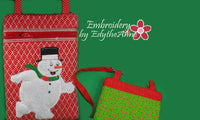 Snowman Applique Crossbody Purse. Two Sizes INSTANT DOWNLOAD