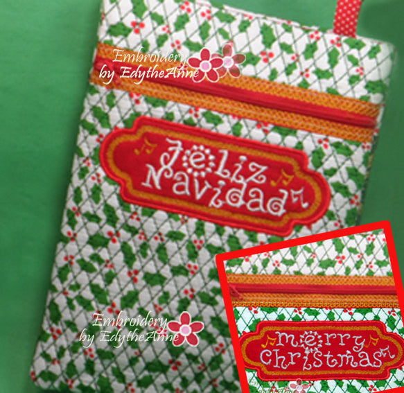 Merry Christmas  and Feliz Navidad Crossbody Bag.2 Sizes. 2 Designs INSTANT DOWNLOAD - Embroidery by EdytheAnne - 1