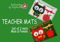 TEACHER Both Male and Female Christmas Gift Mug Mat/Mug Rug In The Hoop Appliqued owls.  - INSTANT DOWNLOAD