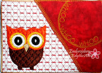 Owl Mug Mat/Mug Rug In The Hoop Embroidery Design