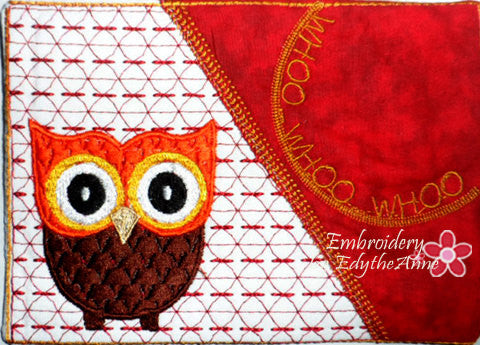 Whimsical Owl Mug Mat/Mug Rug In The Hoop Embroidery Design - Embroidery by EdytheAnne - 1