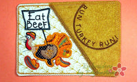 Run Turkey Run... Thanksgiving Mug Mat Turkey Applique.  - Digital File - Instant Download