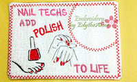 MANICURIST and NAILTECH CAREER In The Hoop Embroidered Mug Mat/Mug Rug.  Easy and quick to stitch.  - Digital File - Instant Download - Embroidery by EdytheAnne - 2