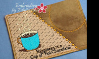 Cup of Java AND Cup of Hot Chocolate Mug Mat/Mug Rug In The Hoop Embroidery Design.Digital Download
