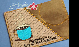 Cup of Java AND Cup of Hot Chocolate Mug Mat/Mug Rug In The Hoop Embroidery Design.Digital File.Available immediately.  No shipping charges - Embroidery by EdytheAnne - 1
