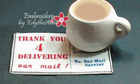 MAIL CARRIER CAREER In The Hoop Embroidered Mug Mat/Mug Rug.  Easy and quick to stitch. Digital File. Available immediately. - Embroidery by EdytheAnne - 2
