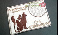Vet Tech and Veterinarian CAREER In The Hoop Embroidered Mug Mat/Mug Rug.  Easy and quick to stitch.  - Digital File - Instant Download - Embroidery by EdytheAnne - 3